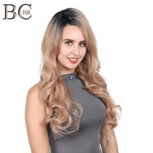 BCHR Long Natural Wave Synthetic 13*4 Lace Front Wig Rose Gold color glueless natural Hairline for Women Free Shipping