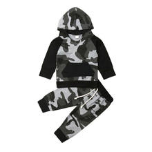Emmababy Fall Winter Toddler Infant Baby Boy Clothes Long Sleeve Hoodie Tops Sweatsuit Pants Camo Outfit Set for Kids(China)