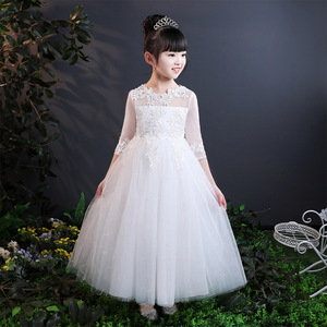 2018 Baby Girls Lace Embroidery Dress Kids White Wedding High-end Dress Flower Vestidos Long Party Princess Dress Girls Clothes(China)