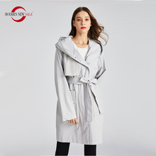 MODERN NEW SAGA Women Trench Coat Fashion Long Coat Autumn Coat Women Hooded Belt Windbreaker Spring Coat Women Overcoat Woman cheap Full Broadcloth Casual Polyester Pockets Sashes Solid 9016 zipper Wide-waisted 100 Polyester Non-detachable