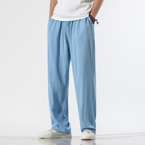 2020 Summer Straight Pants Men Linen Track Pants Male Streetwear Hip Hop Wide Leg Pants Trousers Men joggers Pantalon Homme
