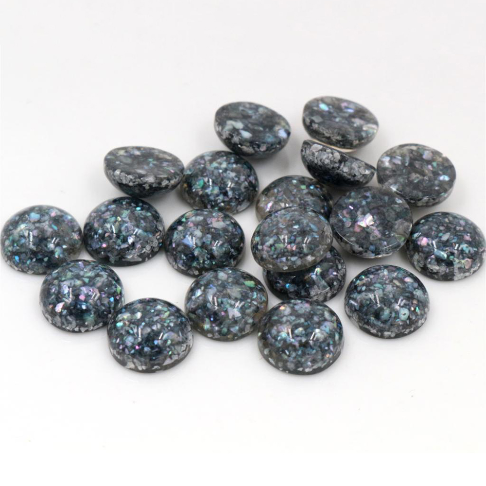 New Style 40pcs 12mm Black Colors Built-in Real Shells Style Flat Back Resin Cabochons Fit 12mm Cameo Base Cabochons-W3-05
