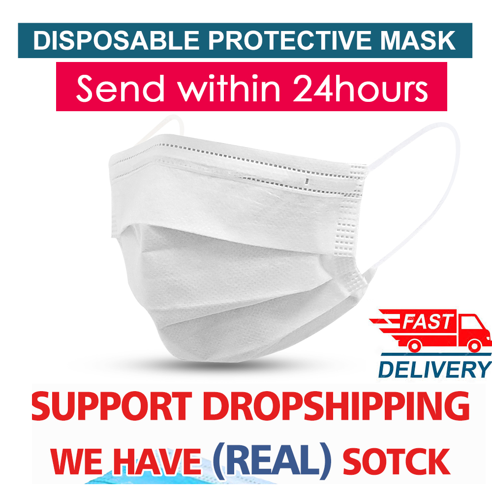 50pcs 3 Layer Non-woven Dust Mask Disposable Dustproof Anti-fog Breathable Face Masks Surgical Elastic Earloop Protective Masks