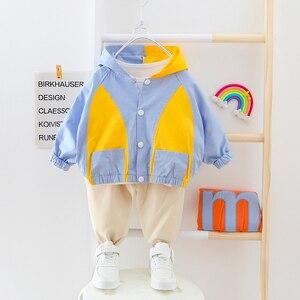 Image 5 - Vestiti del ragazzo Patchwork Vestito Del Bambino Con Cappuccio Cardigan Coat + Pants 2 pezzi/set Bottoni Bambini Outwear Abbigliamento 2 3 4 Anni