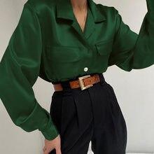 5XL Celmia şık üst kadınlar zarif ipek saten bluzlar sonbahar uzun kollu yaka düğmeleri parti gömlek Casual katı Blusas Femme