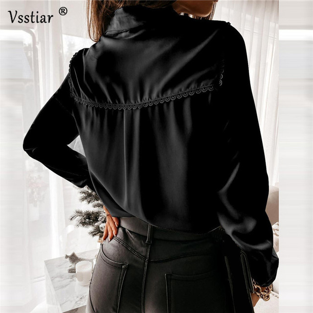 Long Sleeve Lace Blouse Sexy Office Ladies Tops Elegant Patchwork Solid Casual Shirt Plus Size White Black 2021 New Clothing 6