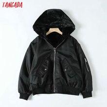 Tangada Women beige fur reversed jacket coat hooded long sle