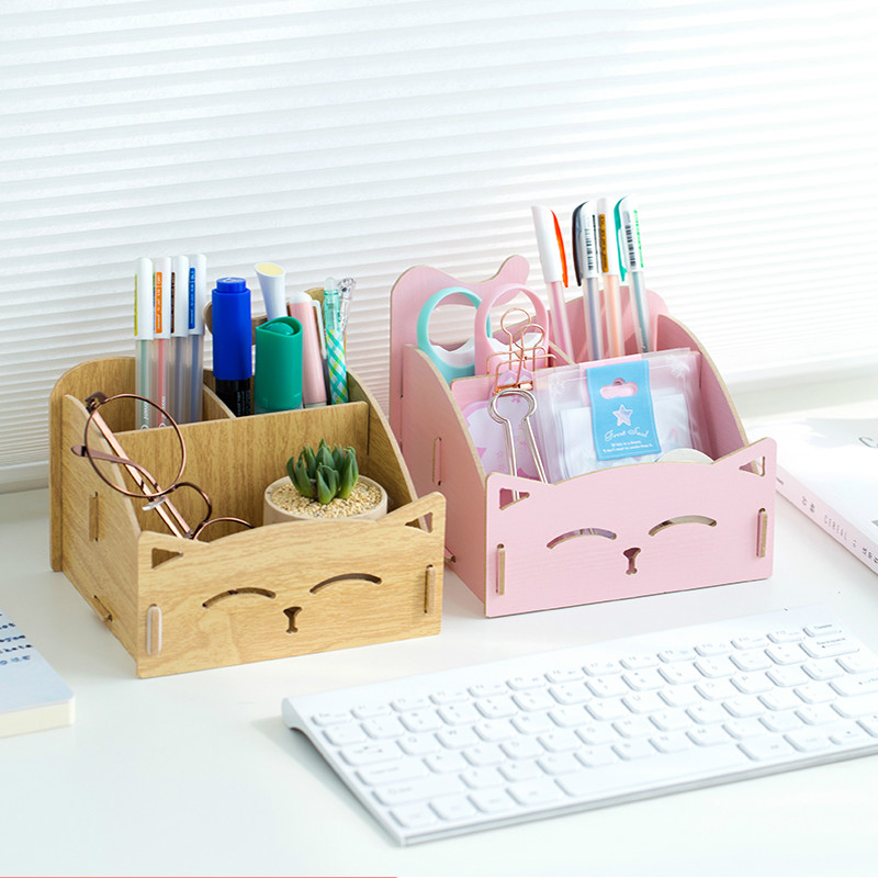 Pen Container Creative Korea Storage Lovely Cartoon Students Holders Children Box Wooden Card Clip Multi-functional Pen Desktop