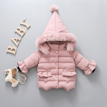 2019 Winter Down Jacket For Girls Winter Coat Girl Cute Hooded Jacket Warm Cotton Padded Outerwear Baby Girl Clothes brand baby infant girls fur winter warm coat 2018 cloak jacket thick warm clothes baby girl cute hooded long sleeve coats jacket