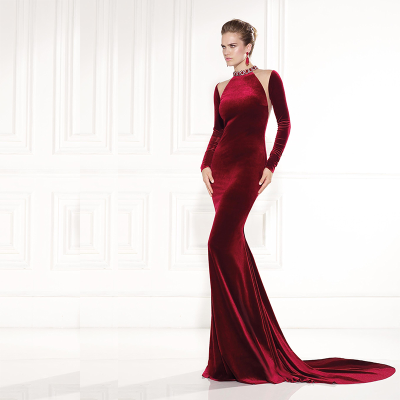 Party Women High Neck Long Sleeve Burgundy Crystal Sheath Robe De Soiree Evening Gown 2018 Mother Of The Bride Dresses