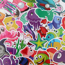 41pcs/lot Sea Creature Creative Sticker for Paper Notebook Adhesive Tape Car Luggage Diy Decoration Graffiti Stickers AT2859