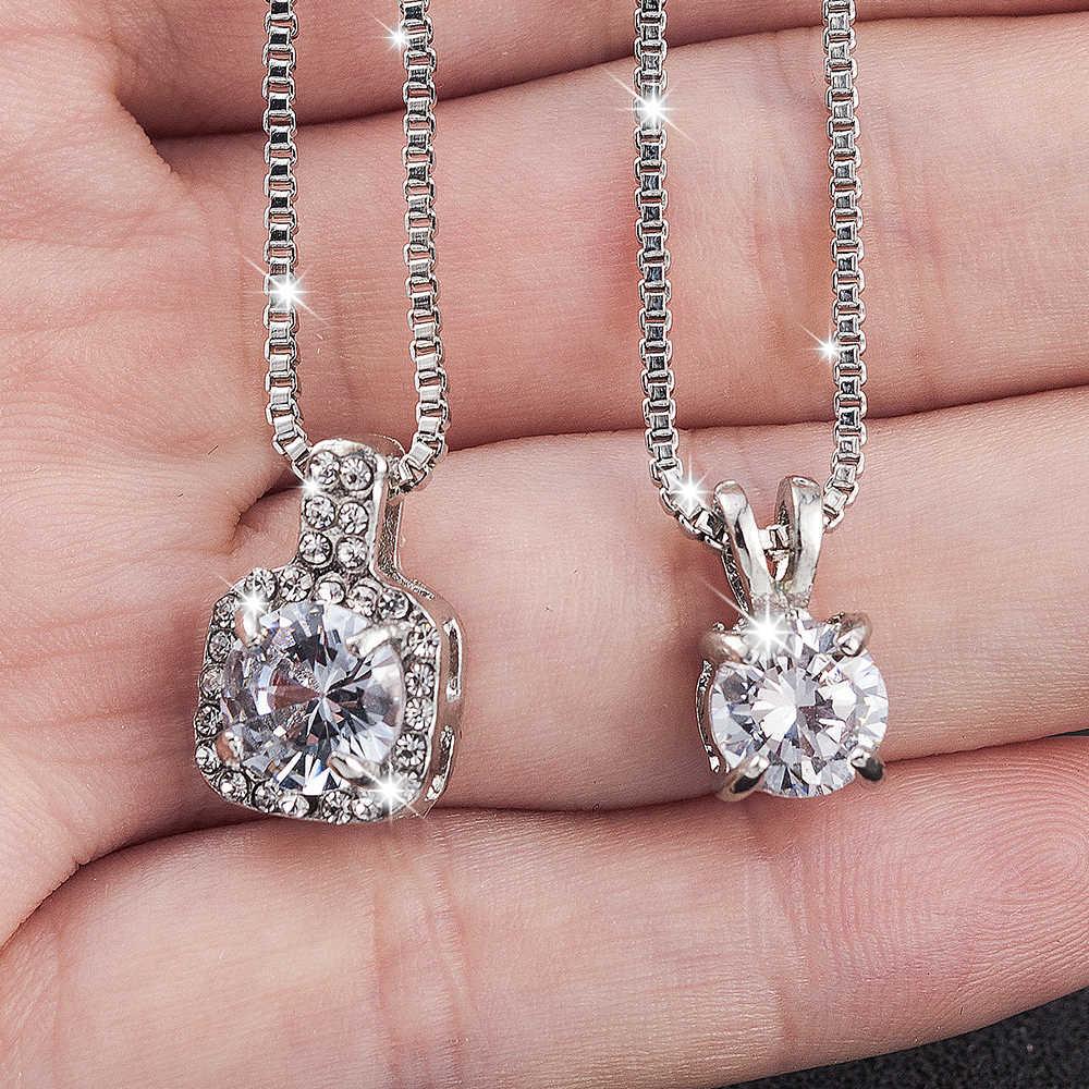 Klasik Pernikahan Kristal Perak Warna Titik Air Mata Liontin Kalung untuk Wanita Trendi Rhinestone Kerah Kalung Perhiasan Laporan