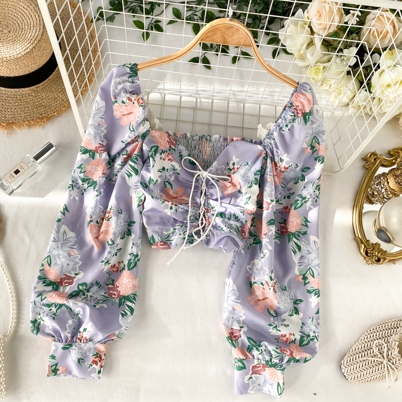 Women Retro Court Square Collar Stretch Slim Long Bubble Sleeve Short Crop Tops Lady Sweet Printed Blouse Shirts K719