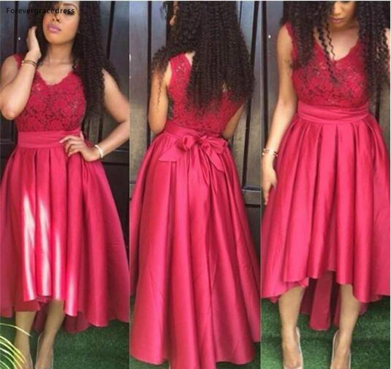 2019 High Quality Red High Low Cocktail Dress Garden Country Formal Party Guest Gown Plus Size