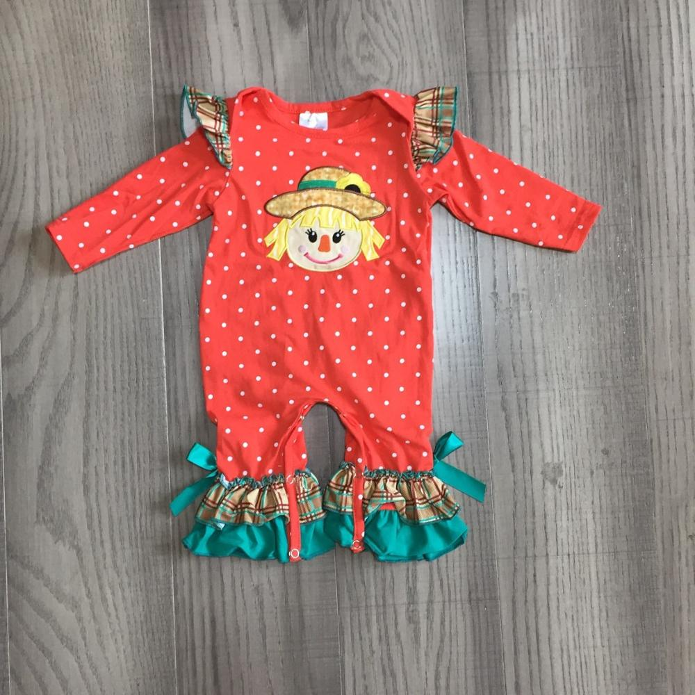 Girlymax fall/winter baby girls boys orange jade scarecrow outfits pants sey top raglans romper ruffles match bow family look 4