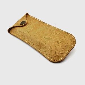 Image 3 - Cubojue cuir véritable, fait à la main, de marque, avec boîte à sangle, pour montures de lunettes, petit bouton de lunettes de soleil, étui à lunettes (53g)