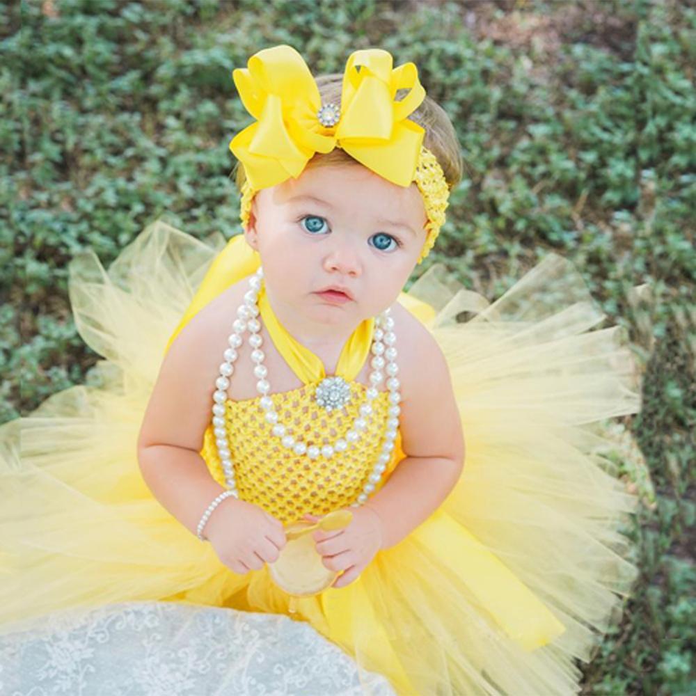 Bonito do bebê amarelo tutu vestido infantil meninas crochê tule vestido com hairbow conjunto recém-nascido festa de aniversário traje fotografia vestido
