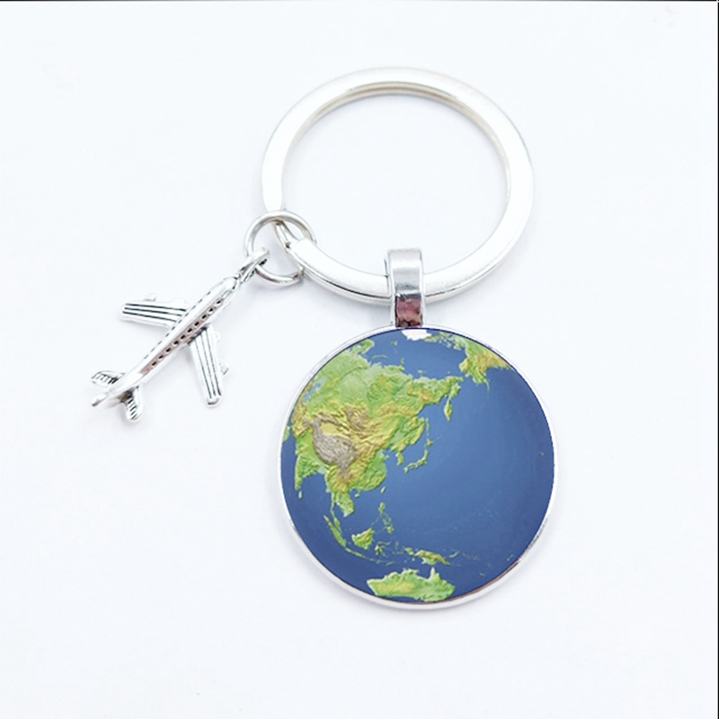 New World Map Keychain Travel Explore Discover Glass Dome Cabachon Plane Charm Pendant Keyring Men Women Gift Souvenir Charm Bag