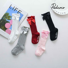 One Pairs pudcoco 2020 Spring New Kids Socks Toddlers Girls 3D Bow knot Knee Lengths Soft Cotton baby Socks Kids 0-4 Years
