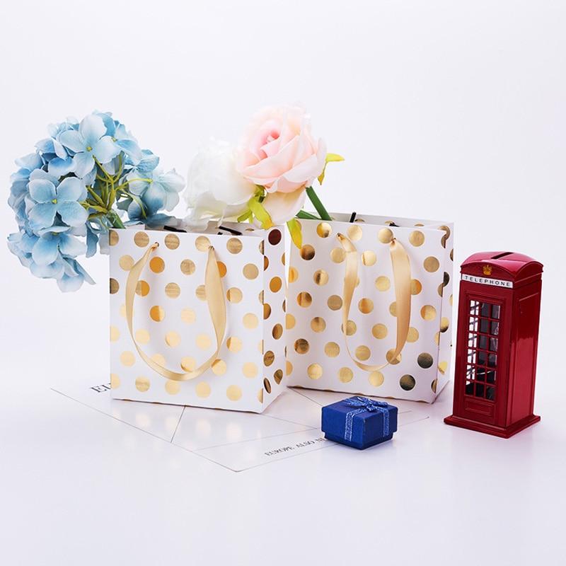 En gros 20 pcs/lot or/argent points sacs cadeaux avec poignées sac en papier Kraft Mini présent sac pour bijoux/parfums paquet cadeau - 4