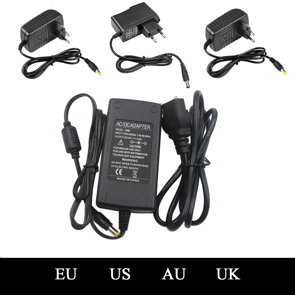 110-240V AC To DC Adapter 12V 1A 2A  5A 6A Power Adaptor Charger Universal Switching Supply 12 Volt LED Light Strip Plug