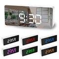 5 кнопок цифровой зеркальный светодиодный дисплей будильник настольные часы температура календарь функция повтора с USB 1 шт. 14x50x3.4cm