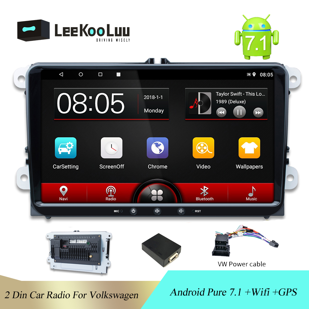 LeeKooLuu <font><b>Car</b></font> 2Din <font><b>radio</b></font> <font><b>Android</b></font> 7.1 <font><b>Car</b></font> multimedia For Volkswagen Skoda Octavia <font><b>golf</b></font> 5 <font><b>6</b></font> touran passat B6 polo GPS Wifi Stereo image