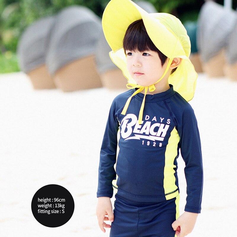 South Korea New Style KID'S Swimwear BOY'S Big Boy Swimming Trunks Long Sleeve Sun-resistant Boy Split Type Quick-Dry Surf Wear