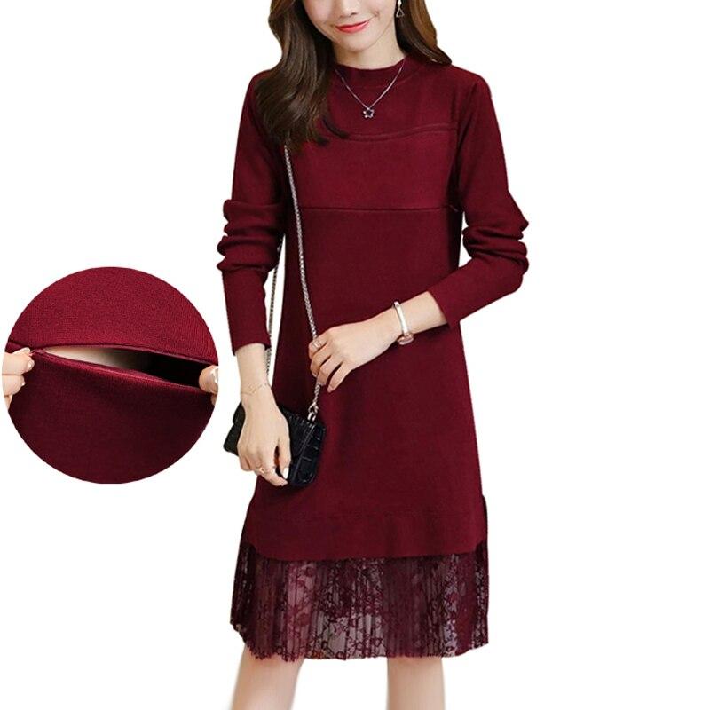 Robe d'allaitement de maternité tricoté pull d'allaitement robes longs pulls pour les femmes enceintes dentelle Patchwork vêtements élégants