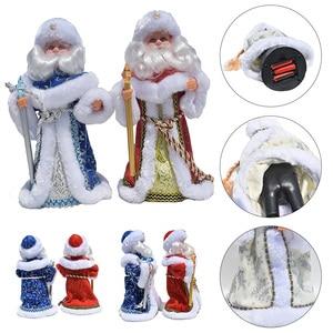 Bonita muñeca de Papá Noel De pie, figuras de Navidad, adornos de Navidad, decoraciones de muñecas, regalo para niños, juguetes para niños, cantar y bailar