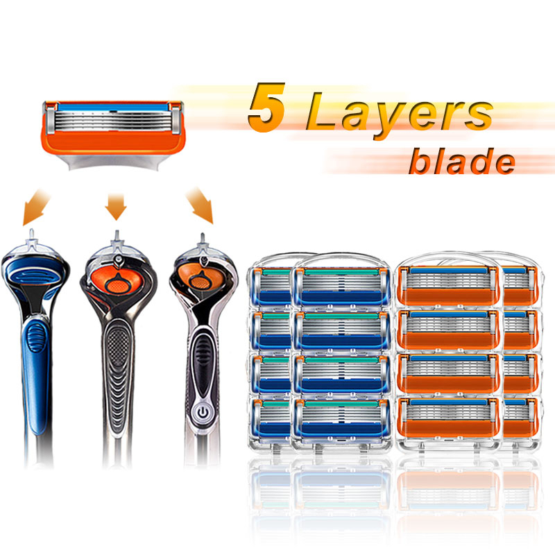 Men Razor Blades 16Pcs/Pack For Shaving Cassettes Compatible With Gillette Fusion 5 Layers Stainless Steel Replace Razor Blade