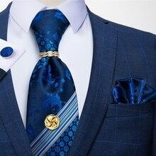 Синие цветочные полосатые шелковые галстуки 8 см мужские галстуки Hanky запонки галстук с цепочкой Бизнес Свадебная вечеринка Gravata галстук на...