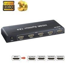SGEYR-Divisor de HDMI, 1x4, Full HD, 4 puertos, 1 en 4, salida HDMI 1,3, Divisor de 1 a 4, compatible con 1080P 3D