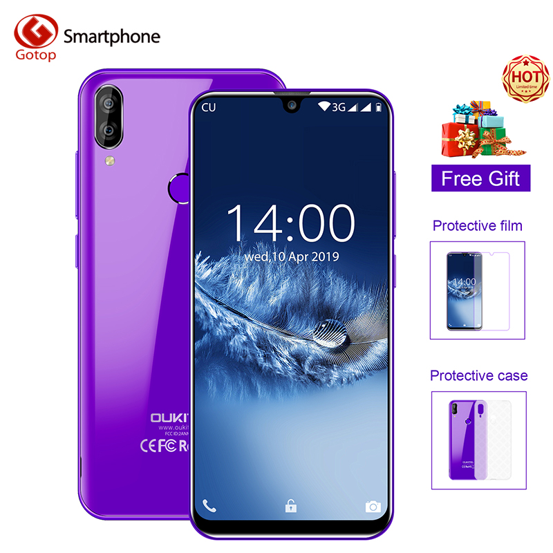 OUKITEL C16 5.71''Android 9.0 19:9 Waterdrop Screen CellPhone  MT6580P 2GB RAM 16GB ROM Smartphone Dual Back Camera Mobile Phone