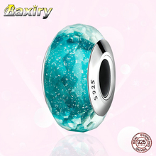 2020 Jewelry DIY 925 Sterling Silver Fit Pandora Charms Silver 925 Original Bracelets Charm Beads  Murano Glass Bead For Women mistletoe jewelry 925 sterling silver large hole light blue 3d flowers murano glass charm bead fit european bracelet