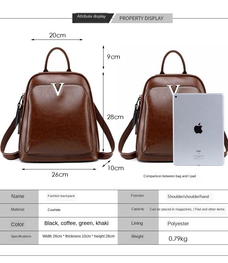 Novo estilo de couro mochila de cera