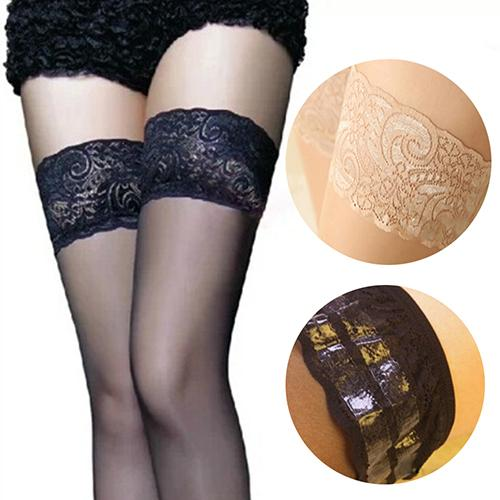 Woman Sexy Linegerie Lace Top Stay Up Thigh High Stockings Pantyhose Non-slip Silicone Sexy Stockings For Garters Lady's Hosiery