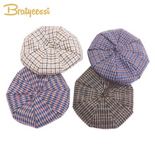 New Fashion Baby Girl Hat Wool Winter Cap for Girls Vintage Plaid Beret Hats Kids Children 2-6 Years