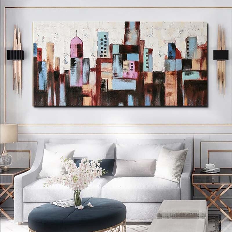 Hand Bemalt Abstrakten Stadt Gebäude Ölgemälde Abstrakte Wand Kunst Bild Wohnzimmer Schlafzimmer Home Decoration Drop Shipping - 5