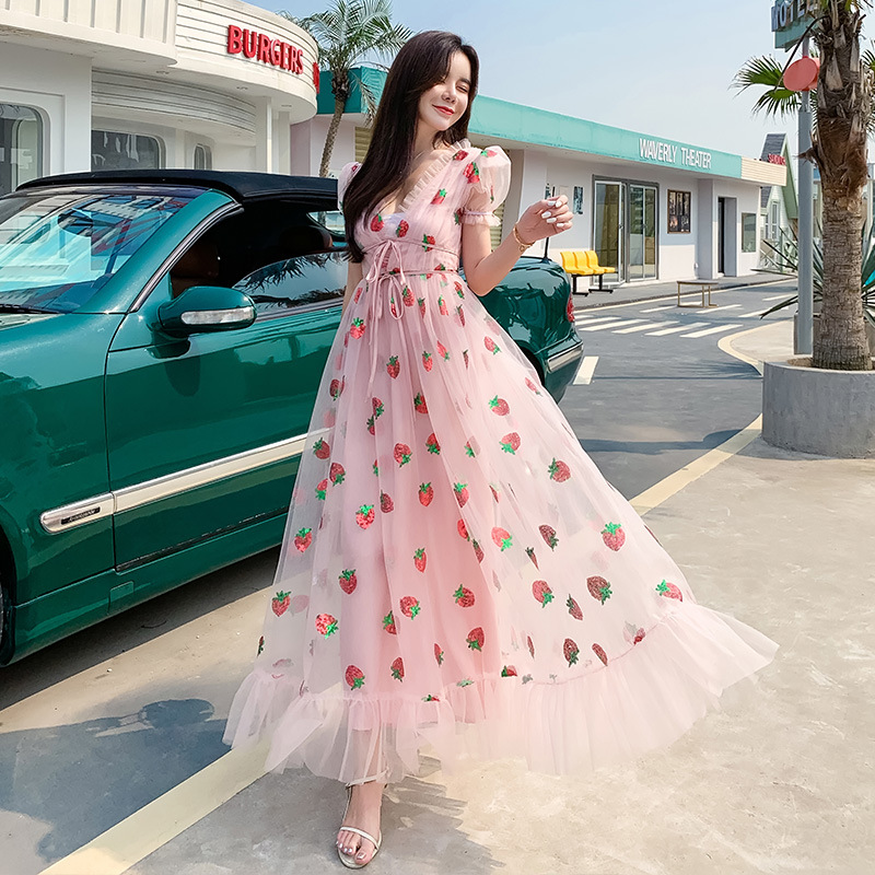 New French Sexy V-Neck Sweet Strawberry Dress Short Sleeve Party Long Dress Summer New Women's Clothing