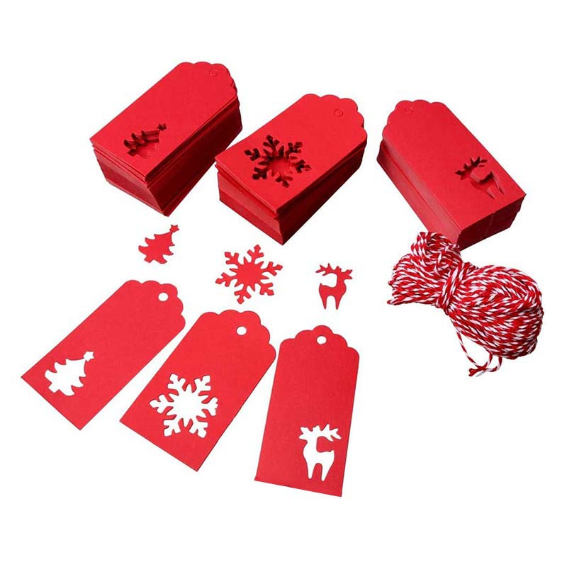210Pcs Christmas Paper Tags for Gifts Red Reindeer, Christmas Tree Snowman Christmas Gifts Tags with 30M Cotton Rope