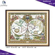 F905 14CT 11CT Counted and Stamped Old World Map Cross Stitch Kits For Home Decoration(China)