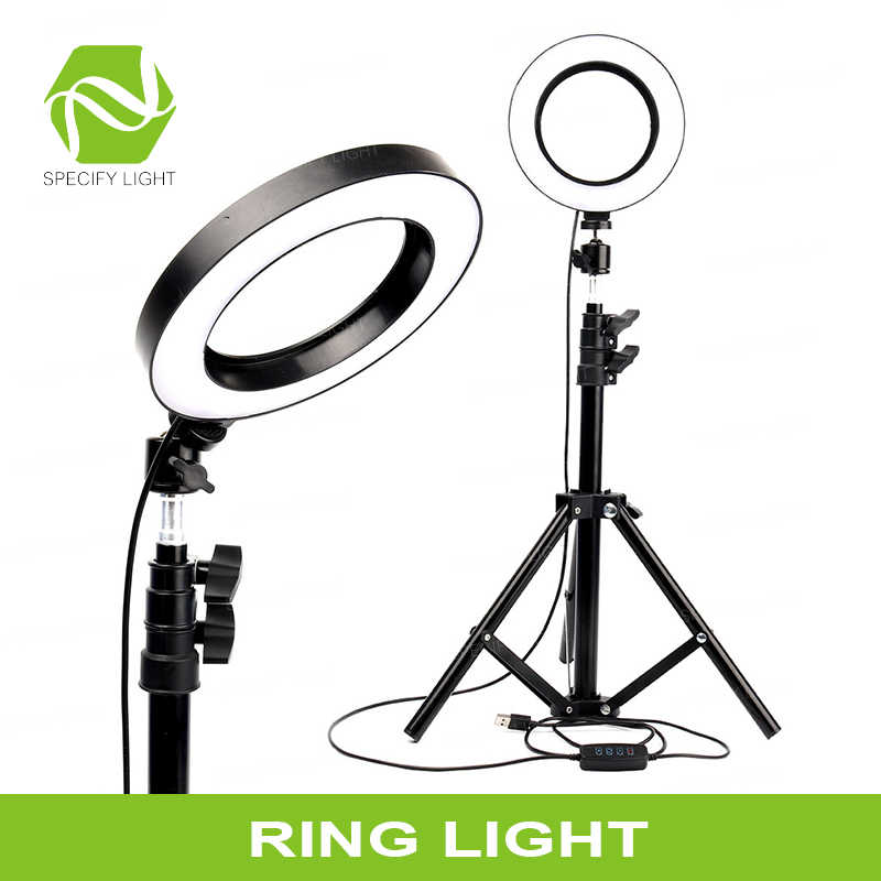 16cm 6 inch LED Ring Light Filling Kits Dimming LED Tripod Stand USB Charging Port 360° Ball-head for Camera Photo Studio Selfie