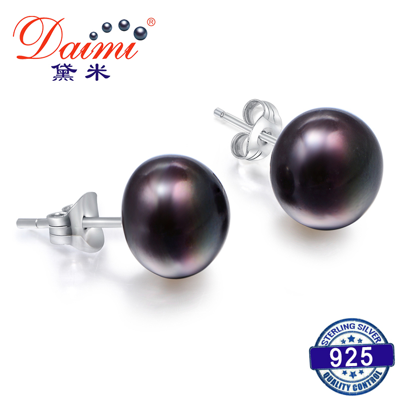 DMEFP151 Black Pearl Studs Earrings 4 Size Black Freshwater Silver 925 Jewelry Exquisite Pearl Earrings For Women Gift(China)