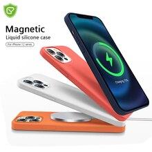 Étui de chargement sans fil magnétique en Silicone liquide Original pour iPhone 12 Pro Max, soyeux et doux au toucher, doublure en microfibre
