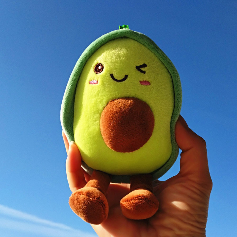 Kawaii Keychain <font><b>Plush</b></font> Avocado <font><b>Toys</b></font> Stuffed Fruit Dolls Avocado <font><b>Key</b></font> <font><b>Chain</b></font> Dolls Bag Decoration <font><b>Key</b></font> Ring <font><b>Toys</b></font> for Baby Kids image