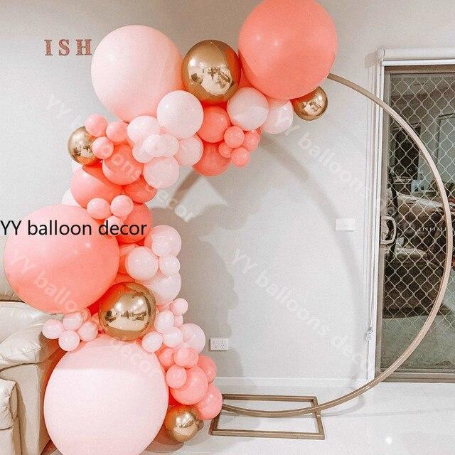 باستيل بالون جارلاند قوس قزح معكرون المرجان الأحمر الخوخ طقم داي الاطفال حفلة عيد ميلاد بالونات المنزل حفل زفاف ديكور بالونات