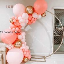 Guirnalda de globos Pastel de arcoíris, macarrón rojo Coral melocotón, Kit DIY, globos de fiesta de cumpleaños para niños, decoración del hogar, banquete de boda, globos