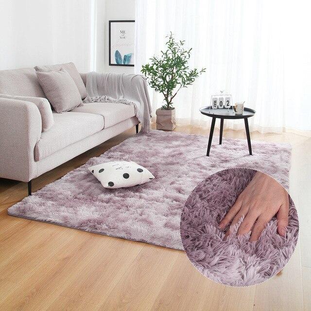 Grey Carpet Tie Dyeing Plush Soft Carpets For Bedroom Living Room Anti-slip Floor Mats Bedroom Water Absorption Carpet Rugs