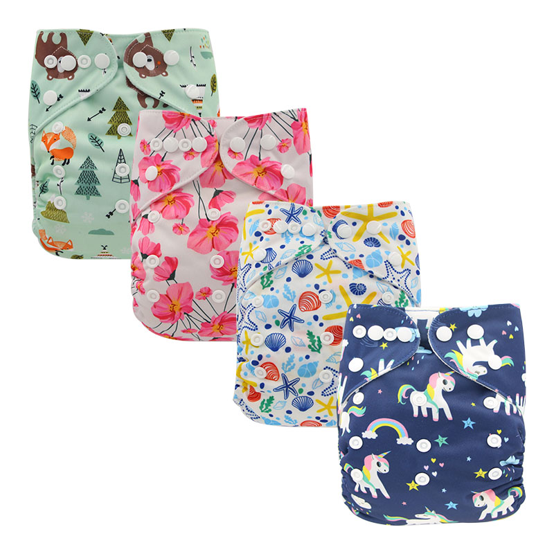 4Pack Baby Reusable Nappies Infant Cloth Diaper Covers Unicorn Baby Pocket Diaper Size Adjustable Ohbabyka Baby Training Pants